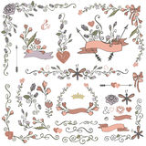 Colored Doodles borders,frames,wreath set.Floral Royalty Free Stock Photography