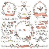 Colored Doodles borders,frames,wreath set,floral Royalty Free Stock Images