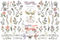Colored Doodles borders,ribbons,floral decor element.eps. Colored  Doodles flower,decor elements set for hand sketched logo.Easy make design templates Royalty Free Stock Images