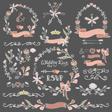Colored Doodles floral decor set.Borders,wreath Royalty Free Stock Photography