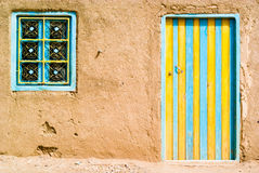 Colored door in the desert. Morocco Royalty Free Stock Images