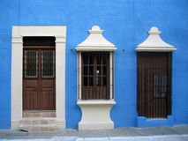 Colored door and window in Mexico Royalty Free Stock Photo