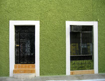 Colored door and window in Mexico Stock Images