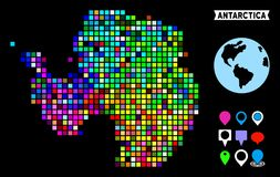 Colored Dot Antarctica Map. Bright colored dot halftone Antarctica map. Geographic map in bright random colors on a black background. Vector pattern of vector illustration