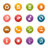Colored dots - Ecological Icons. 16 ecological and recycling icons set Stock Photos