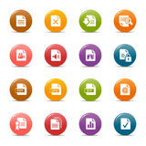 Colored dots - File format icons. 16 file format icons set Royalty Free Stock Images