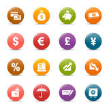 Colored dots - Finance icons. 16 Finance and banking icons set stock illustration