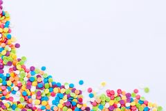 Colored dots frame. Frame made of colored dots on the white background Stock Photography