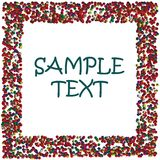 Colored dots frame with space for sample text. Dots frame illustration with sample text in various colors Royalty Free Stock Image