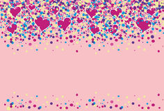 Colored dots with hearts flying. Background full of colored dots with hearts flying Royalty Free Stock Photos