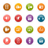 Colored dots - Media Icons. 16 media and technology icons set stock illustration