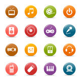 Colored dots - Media Icons. 16 media and technology icons set Royalty Free Stock Photo