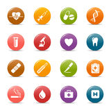 Colored dots - Medical Icons. 16 medical and healthcare icons set stock illustration