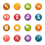 Colored dots - Medical Icons. 16 medical and healthcare icons set royalty free illustration