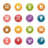 Colored dots - Office and Business icons. 16 office and business icons set Royalty Free Stock Photography