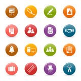 Colored dots - Office and Business icons. 16 office and business icons set Stock Image