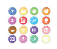 Colored dots - Office and Business icons. 16 office and business icons set stock illustration