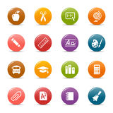 Colored dots - School Icons. 16 school and university icons set Stock Photo