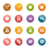 Colored dots - Shopping icons. 16 online shopping icons set stock illustration