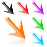 Colored down 3d arrows. Shiny bright signs. Vector illustration  on white background Royalty Free Stock Photo