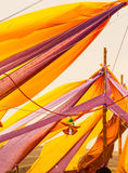 Colored draperies in the wind Royalty Free Stock Image