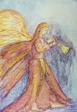Colored drawing of an archangel blowing a trumpet.