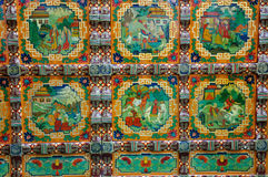 Colored drawing lacquer of Tibet tradtional style. Colored drawing lacquer of Tibet traditional culture and style, including design of colorful pattern and story Stock Image
