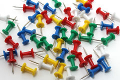 Colored drawing pins Stock Photos