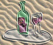 Colored drawing of red wine bottle on sand stock illustration