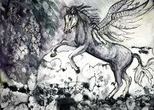Colored drawing of white horse of the apocalypse. The dabbing technique near the edges gives a soft focus effect due to the altered surface roughness of the Royalty Free Stock Photos
