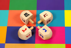 Colored Dreidels Royalty Free Stock Photography