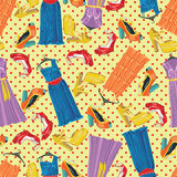 Colored dresses,open shoes and polka dot in seamle. Seamless pattern of polka dot, three females cocktail dresses and high heel open shoeses. Use as background Stock Image