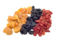 Colored dried fruits royalty free stock photos