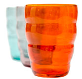 Colored drink glass, close up, isolated, white background Stock Photography