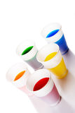 Colored drink in plastic cup. S royalty free stock images