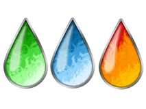 Colored drops. Three abstract colored drops with earth water fire elements Royalty Free Stock Photo