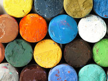 Colored dry pastel crayons closely. Stock Image