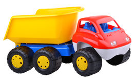 Colored dump-truck on white background. Colored dump-truck on isolated background Royalty Free Stock Photo