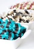 Colored durum wheat semilina pasta stock images