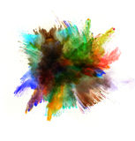Colored dust explosion on white background Stock Images