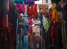 Colored dyed yarn is dried on the streets of Morocco Royalty Free Stock Photography