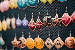 Colored earrings for women Stock Images