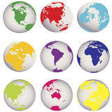Colored Earth globes Royalty Free Stock Photography