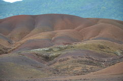 Colored Earths 1. Colored Earths near Chamarel town, Mauritius Stock Photo