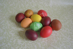 Colored Easter chicken eggs royalty free stock photography