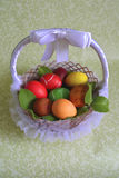 Colored Easter chicken eggs with dyes Royalty Free Stock Images