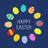 Colored Easter egg set round frame on blue background Card Flat design Royalty Free Stock Photo