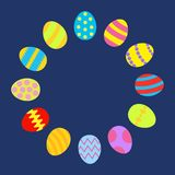 Colored Easter egg set round frame on blue background template Card Flat design. Colored Easter egg set round frame on blue background template Flat design Stock Photography