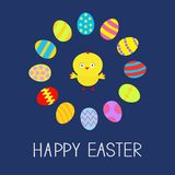 Colored Easter egg set round frame and chicken Card Flat design Stock Images