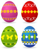 Colored easter eggs. Four colored easter eggs. Vector illustration, isolated on a white Stock Photos